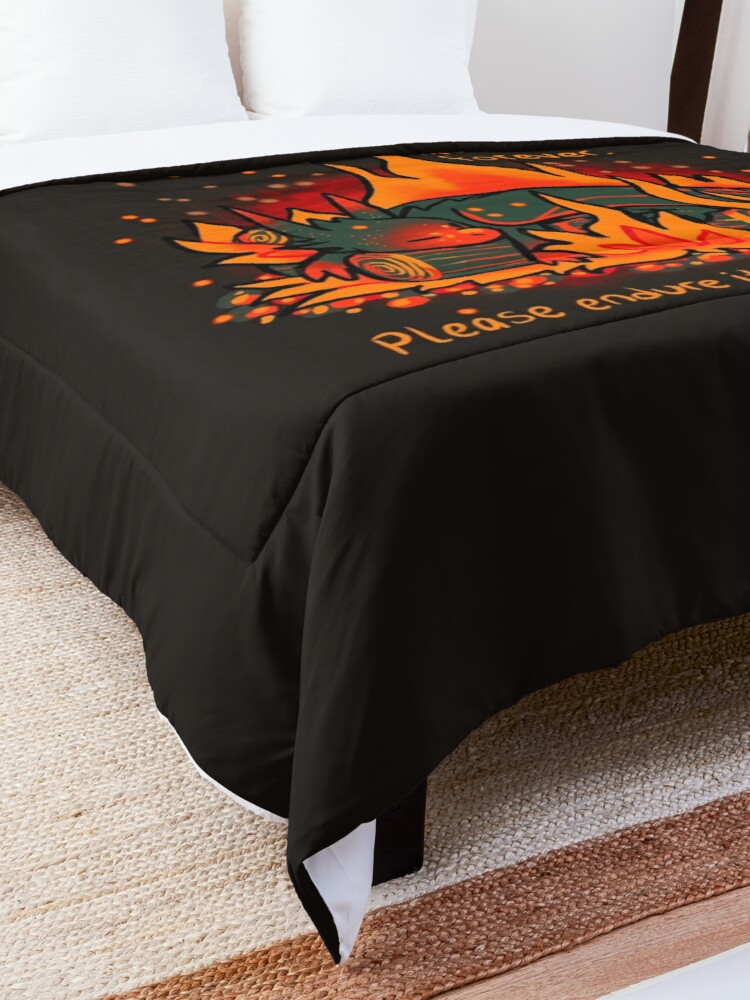 """Alternate view of """"No Darkness Lasts Forever"""" Campfire Dragon Comforter"""