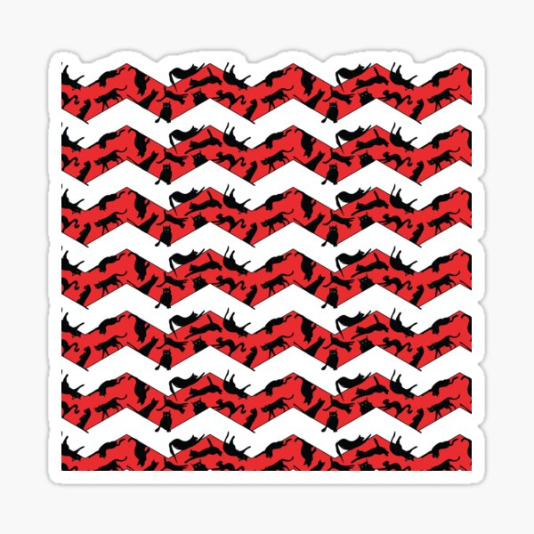 Red Christmas chevron pattern with black cats. Christmas gift Sticker