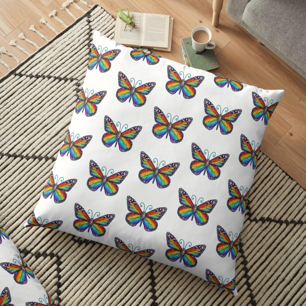 Rainbow Butterfly Floor Pillow
