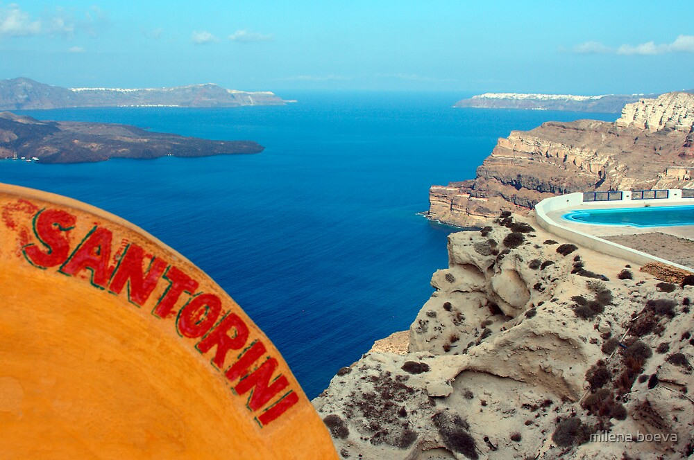 santorini view from above by milena boeva