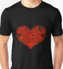 Red flower love heart Unisex T-Shirt