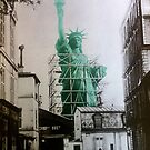 the Statue of Liberty construction sepia photo hand colored by Glimmersmith