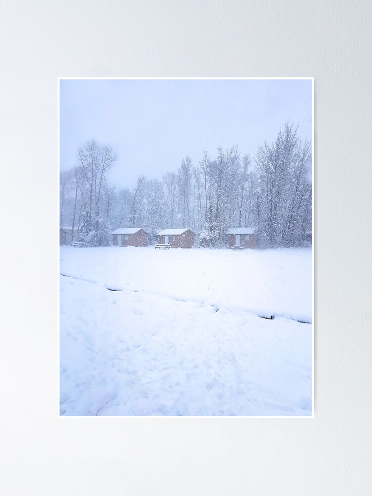 Alternate view of Winter Camp - cabins in the snow Poster