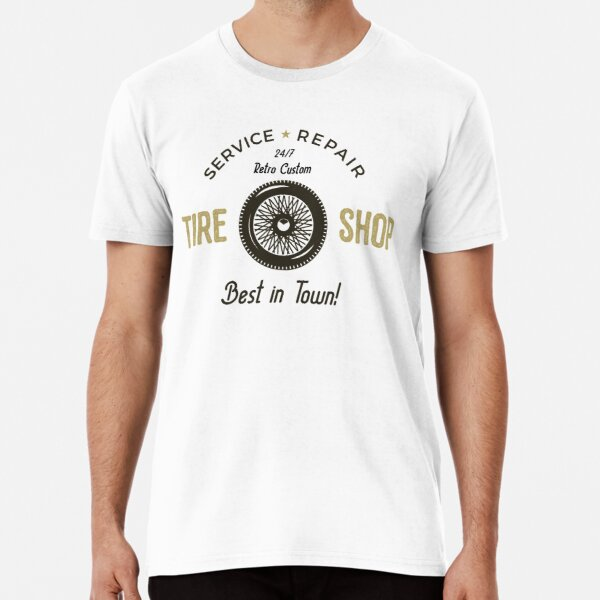 Retro Custom Tire Shop Camiseta premium