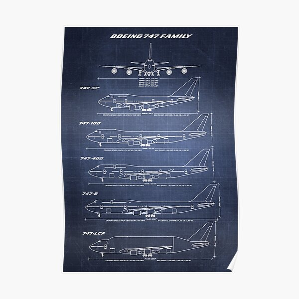 Boeing 747 Family Blueprint (dark blue) Poster