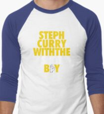 Steph Curry With The Shot Boy [With 3 Sign] Gold/White Men's Baseball ¾ T-Shirt