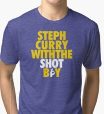Steph Curry With The Shot Boy [With 3 Sign] Gold/White Tri-blend T-Shirt