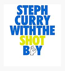 Steph Curry With The Shot Boy [With 3 Sign] Blue/Gold Photographic Print
