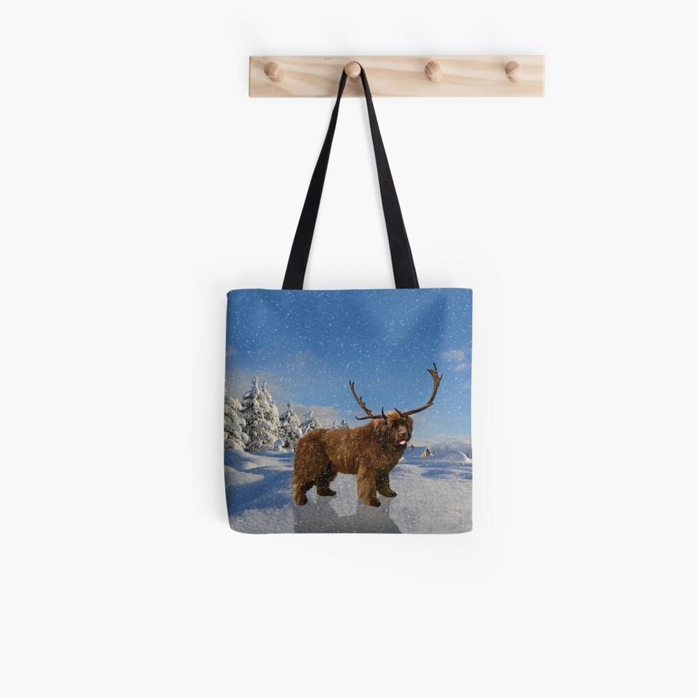 Brown Newfie Reindeer in the Snow Tote Bag
