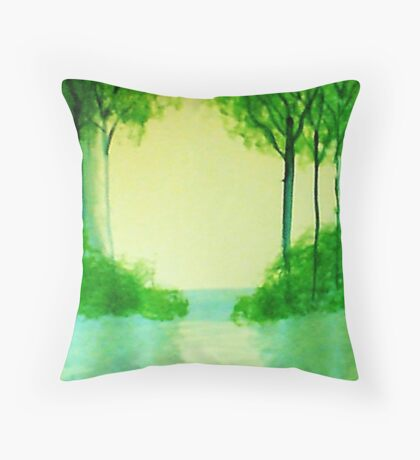 Trees in the halo of sunset, Series  #1,, watercolor  Throw Pillow