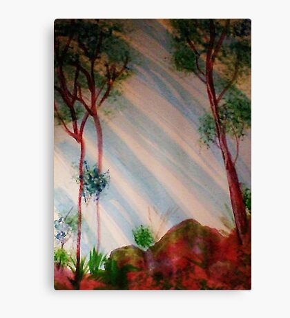 Trees in forest with light streaming thru, Series #2, watercolor Canvas Print