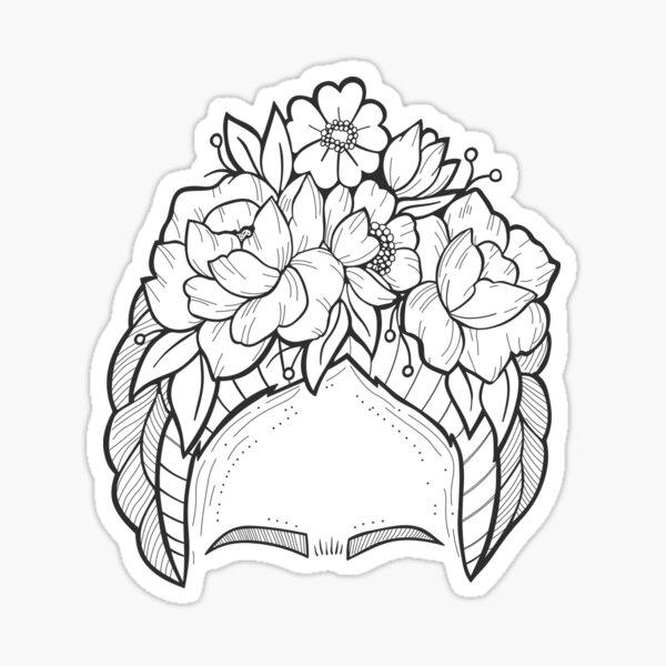 Frida Flores Black and White Sticker