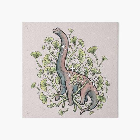 Brachio Ginkgo | Calm Color Palette | Dinosaur Botanical Art Art Board Print