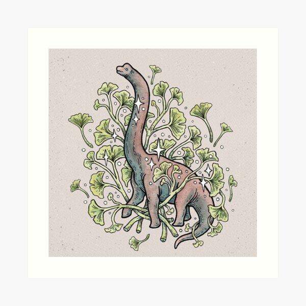 Brachio Ginkgo | Calm Color Palette | Dinosaur Botanical Art Art Print