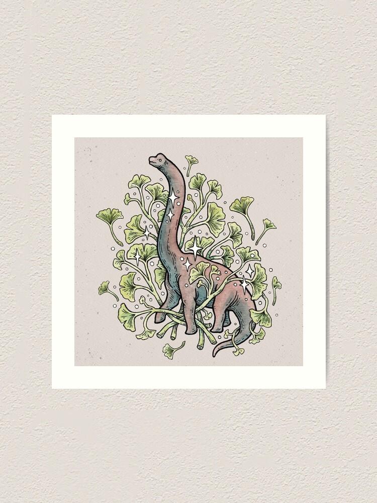 Alternate view of Brachio Ginkgo | Calm Color Palette | Dinosaur Botanical Art Art Print