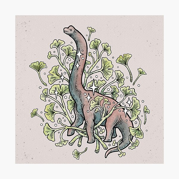 Brachio Ginkgo   Calm Color Palette   Dinosaur Botanical Art Photographic Print