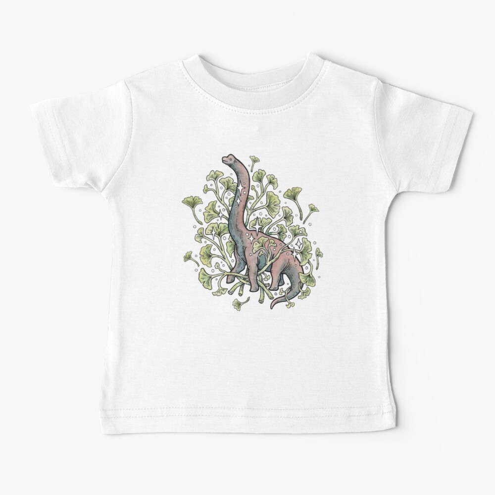 Brachio Ginkgo   Calm Color Palette   Dinosaur Botanical Art Baby T-Shirt