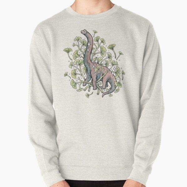 Brachio Ginkgo | Calm Color Palette | Dinosaur Botanical Art Pullover Sweatshirt