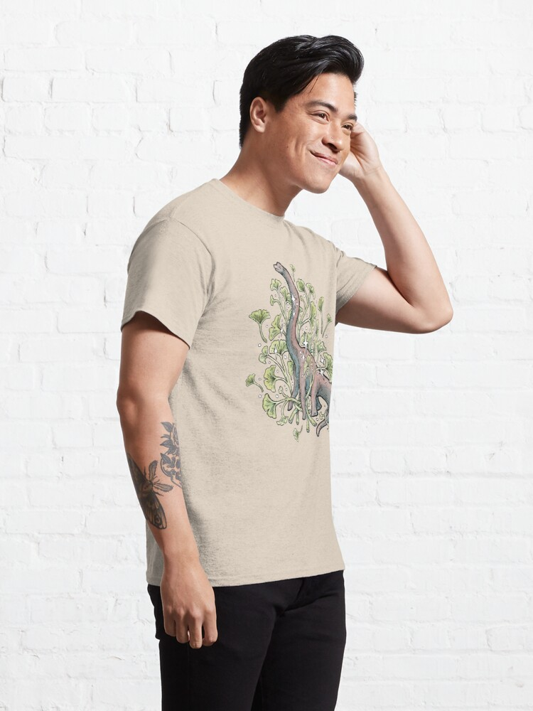 Alternate view of Brachio Ginkgo | Calm Color Palette | Dinosaur Botanical Art Classic T-Shirt