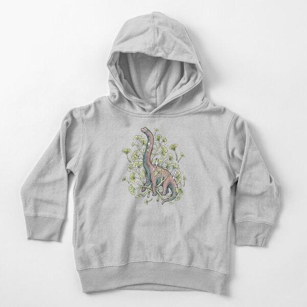 Brachio Ginkgo | Calm Color Palette | Dinosaur Botanical Art Toddler Pullover Hoodie