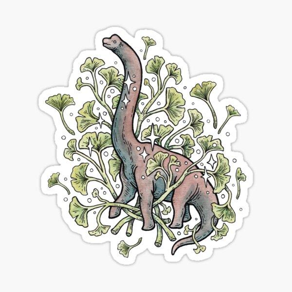 Brachio Ginkgo | Palette de couleurs calme | Art botanique de dinosaure Sticker
