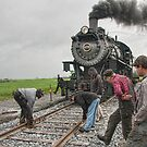 Strasburg Railway - New Track Work Team by Marilyn Cornwell