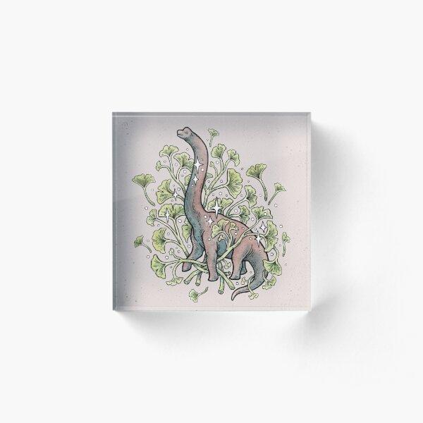 Brachio Ginkgo | Calm Color Palette | Dinosaur Botanical Art Acrylic Block