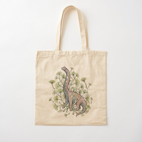 Brachio Ginkgo | Calm Color Palette | Dinosaur Botanical Art Cotton Tote Bag