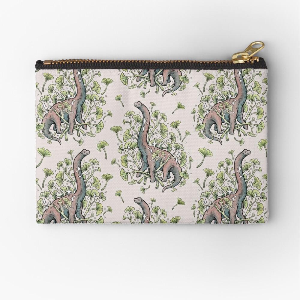 Brachio Ginkgo | Calm Color Palette | Dinosaur Botanical Art Zipper Pouch