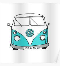 Retro Blue VW Van Poster