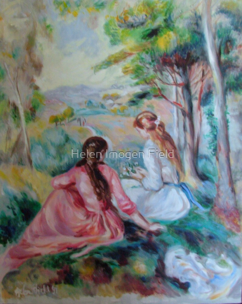 Two girls in a French countryside - Renoir copy by Helen Imogen Field