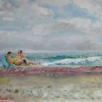 Fire Island - the sea with sunbathers by imogenart
