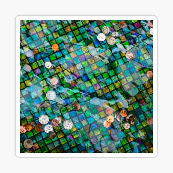 Mosaic Glass Tile Coin Fountain Sticker