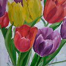 Sun through tulips, red, yellow, purple by Helen Imogen Field