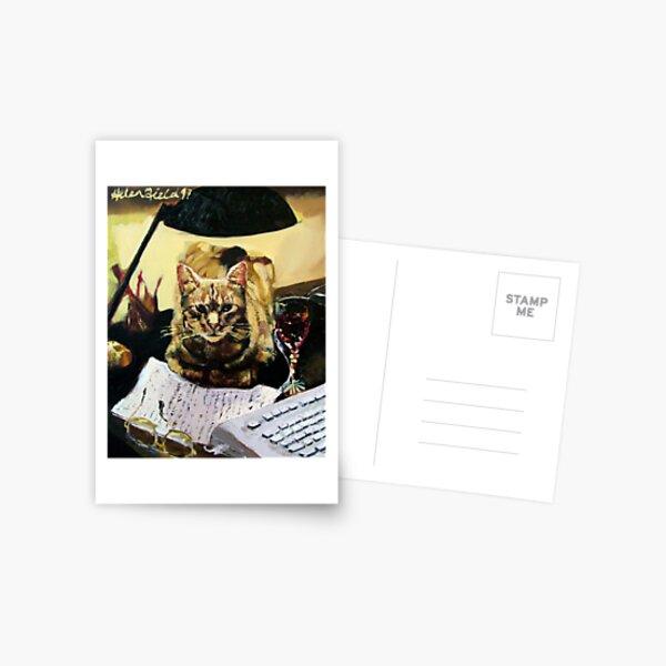 Writer's Cat  Postcard