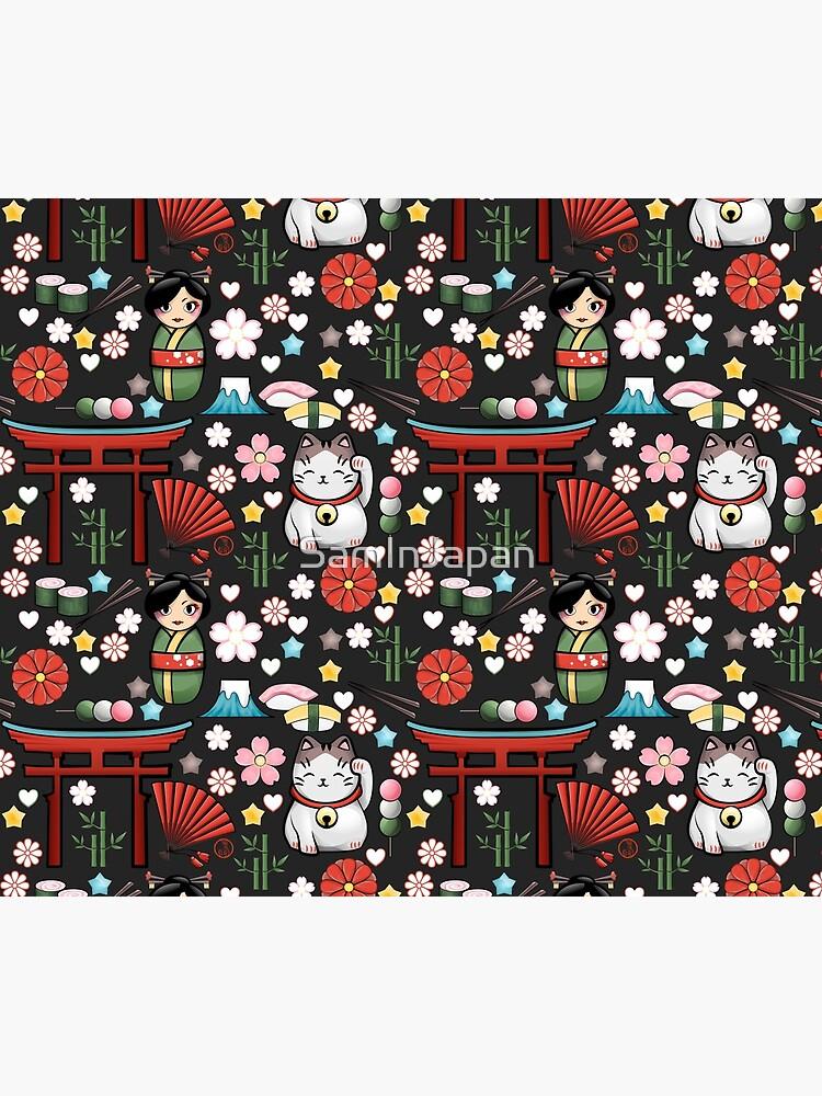 Myriade de Japonais en gris oscuro - Gran cantidad de motivos japoneses kawaii de SamInJapan