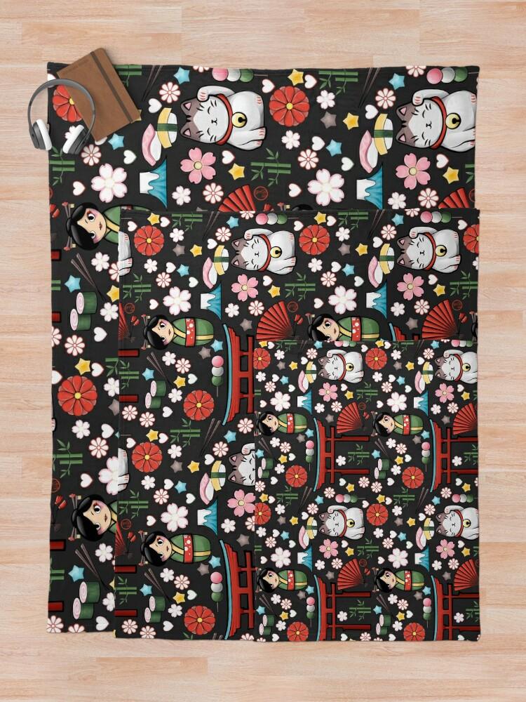 Vista alternativa de Manta Myriade de Japonais en gris oscuro - Gran cantidad de motivos japoneses kawaii
