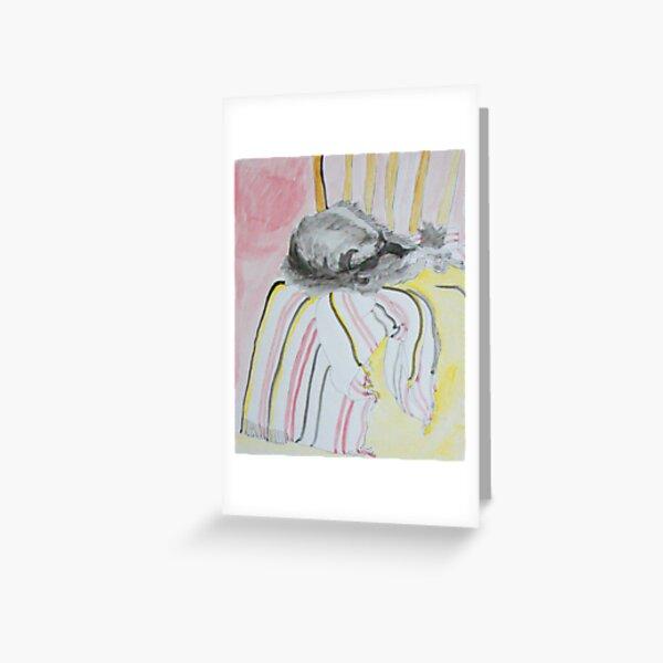 Grey cat asleep on a chair Greeting Card