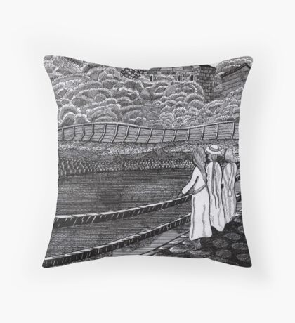 212 - MUNCH'S GIRLS ON A JETTY (INK) Throw Pillow