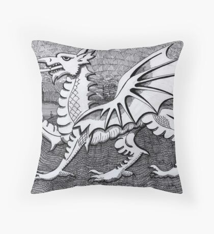 213 - WELSH DRAGON - DAVE EDWARDS - INK - 2007 Throw Pillow