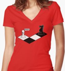 Knight Takes Pawn Women's Fitted V-Neck T-Shirt