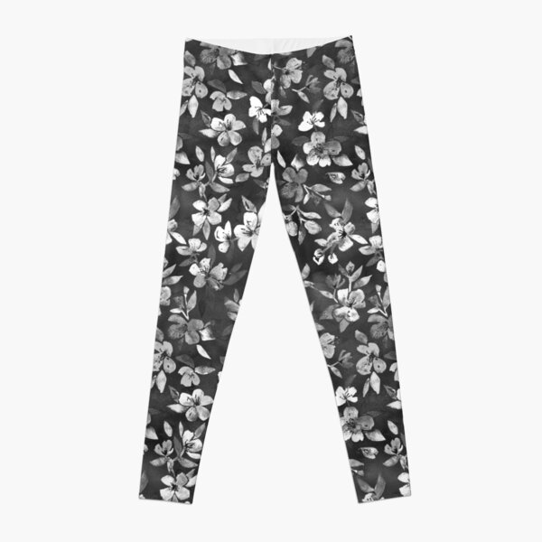 Blossoms on Charcoal Ink Leggings