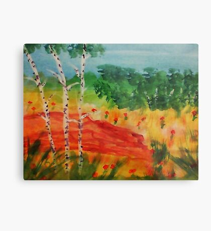 Lets pick flowers among the trees, watercolor Metal Print