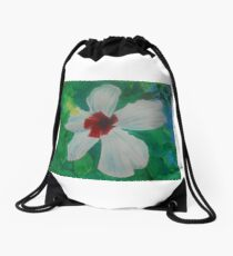 White Hibiscus Drawstring Bag