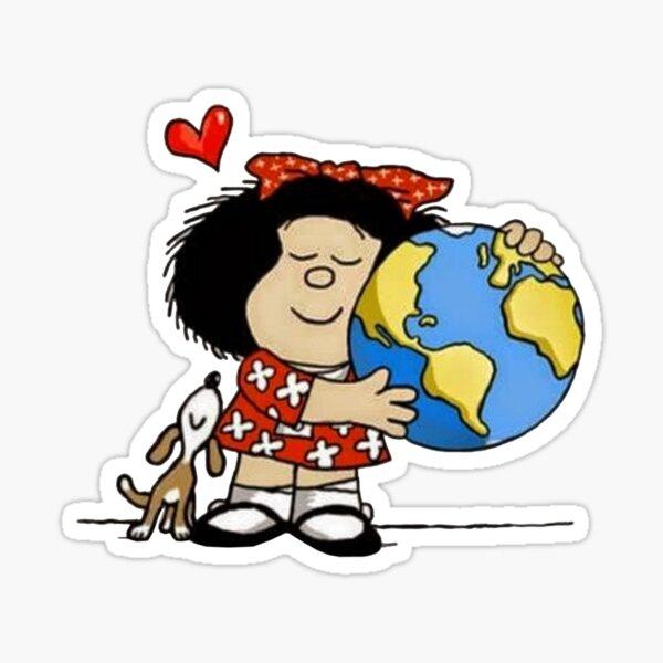 Mafalda, el mundo y su perrito Pegatina