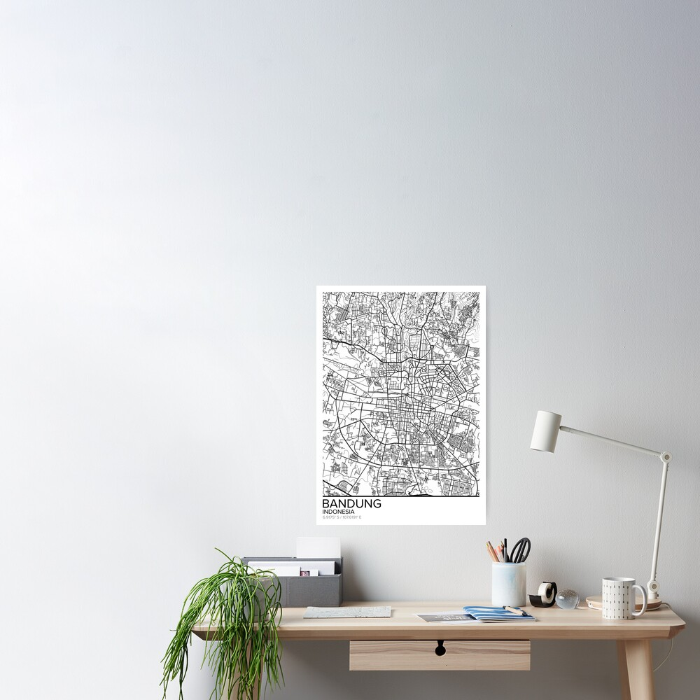 Bandung map poster print wall art, Indonesia gift printable, Home and  Nursery, Modern map decor for office, Map Art, Map Gifts  Poster