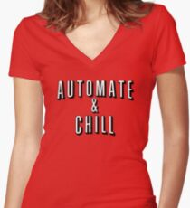 Automate & Chill Women's Fitted V-Neck T-Shirt