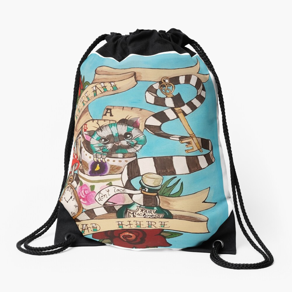 Were All Mad Here (Alice's Adventures in Wonderland) Drawstring Bag