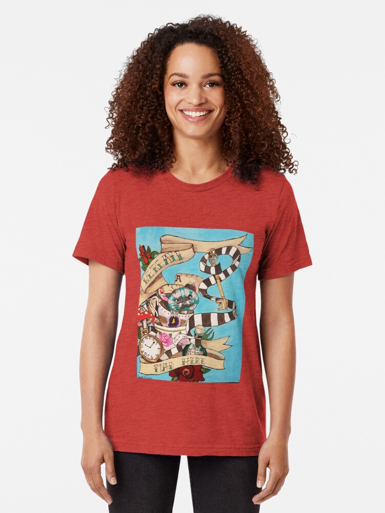 Alternate view of Were All Mad Here (Alice's Adventures in Wonderland) Tri-blend T-Shirt
