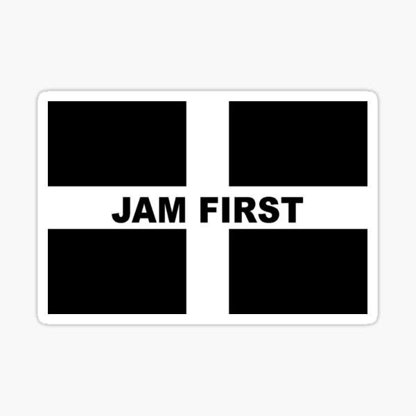Cornwall Jam First - Kernow Saint Piran's Cornish Flag T-Shirt, Poster, Mask, Sticker, Print etc Sticker